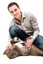 Happy man with a pitbull puppy portrait of young Stock Photography