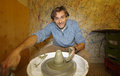 Happy man pottery work Royalty Free Stock Photo