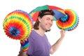 Happy man with rainbow hat umbrella Stock Images