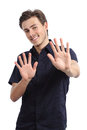 Happy man rejecting and gesturing stop with hands isolated on a white background Stock Photography