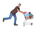 Happy Man With Shopping Cart Royalty Free Stock Photo