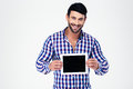 Happy man showing tablet computer screen Royalty Free Stock Photo