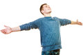 Happy man successful lad with arms raised success positive emotions happiness freedom young looking upwards isolated on white Stock Photo