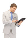 Happy man with tablet pc computer Stock Image