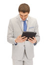 Happy man with tablet pc computer picture of Royalty Free Stock Photo