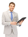 Happy man with tablet pc computer picture of Royalty Free Stock Image