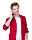 Happy man talk to mobile phone isolated on white background Royalty Free Stock Photos
