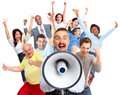 Happy man talking in loud-hailer. Royalty Free Stock Photo