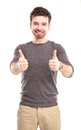 Happy man with thumbs up gesture isolated on white Royalty Free Stock Images