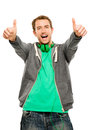 Happy man thumbs up isolated white background young showing sign Stock Photos