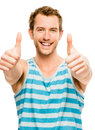 Happy man thumbs up sign closeup portrait isolated on white back showing Royalty Free Stock Photos
