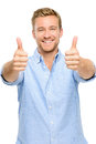 Happy man thumbs up sign full length portrait on white background showing Royalty Free Stock Image