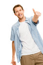 Happy man thumbs up white background showing sign smiling Royalty Free Stock Photo