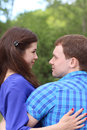 Happy man and woman look at each other Royalty Free Stock Photo
