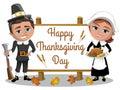 Happy Man Woman Pilgrims rifle roast turkey greeting card isolated