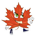 Happy mapple leaf cartoon Royalty Free Stock Photo