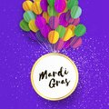 Happy Mardi Gras in paper cut style. Origami Carnival background with ballon. Circle frame. Colorful decoration for Royalty Free Stock Photo