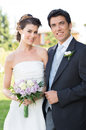 Happy married couple portrait of beautiful young otdoor Stock Photography