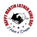 Happy Martin Luther King Day badge. Shaking hands design. Vector illustration. Typographic design for flayers, posters