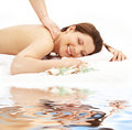 Happy massage on white sand #2 Royalty Free Stock Images