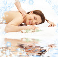 Happy massage on white sand Stock Image