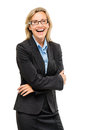 Happy mature business woman confident arms folded Stock Images