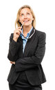 Happy mature business woman thinking isolated on white backgroun Stock Photography