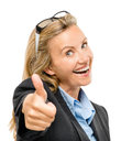 Happy mature business woman thumbs up isolated on white backgrou showing Royalty Free Stock Image