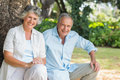 Happy mature couple in park together sitting by tree Royalty Free Stock Photography