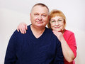 Happy mature couple portrait close up of middle aged over white background Royalty Free Stock Photography