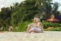 Happy mature couple on vacation enjoy fresh air Stock Photo