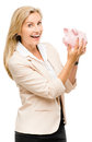 Happy mature woman holding piggy bank isolated on white backgrou smiling Stock Images