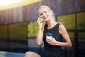 Happy mature woman laughing Royalty Free Stock Photo