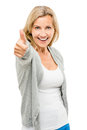 Happy mature woman thumbs up isolated on white background showing Stock Image