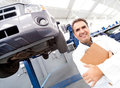 Happy mechanic smiling Royalty Free Stock Photo