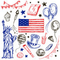 Happy Memorial Day American themed doodle set.
