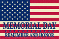 Happy Memorial Day background template. Happy Memorial Day poster. Remember and honor on top of American flag. Patriotic banner.