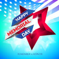 Happy Memorial Day greeting card with national flag colors ribbon and red star on colorful background. Remember and honor.