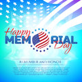 Happy Memorial Day greeting card with national flag colors and stars on colorful background. Remember and honor.