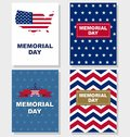 Happy Memorial Day greeting set card. Vector illustration.