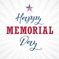 Happy Memorial Day USA lettering star light stripes