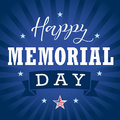Happy Memorial Day USA star, ribbon and stripes banner