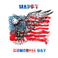 Happy Memorial Day. Watercolor Hand Drawn illustration.