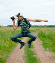 Happy men jumping and photographing Royalty Free Stock Photo