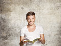 Happy men reading Royalty Free Stock Images