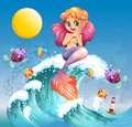 A happy mermaid above the sea waves illustration of Stock Image