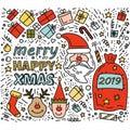 Doodle drawing Santa Claus christmas Gifts Rudolph deer Elf
