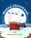 Happy Merry Christmas illustration Greeting card poster v