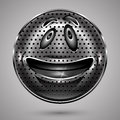 Happy Metal  Smiley Face Button Royalty Free Stock Photo