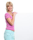 Happy middle age woman holding blank billboard Stock Photography